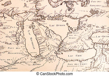 Great Lakes Map - Historical French map of the Great Lakes...
