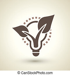 ecology flat icon with bulb and plant elements - retro...