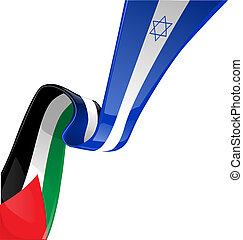 Israel and palestine flag on white background