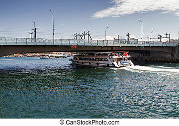 Tourist vessels in gold horn Galata bridge, Istanbul,...