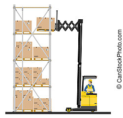 Reach truck - Illustration of forklift operating in the...