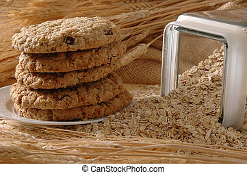 Oatmeal Cookies - A plate of fresh baked oatmeal and...
