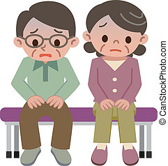 Uneasy senior couple  - Vector illustration.