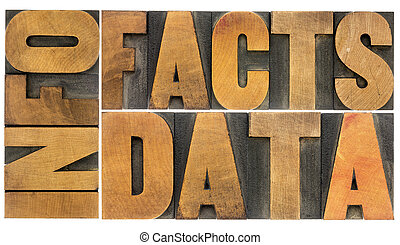information, data, facts in wood type - information, data,...