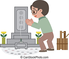 Men who have grave - Vector illustration.