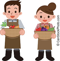 Greengrocer  - Vector illustration.