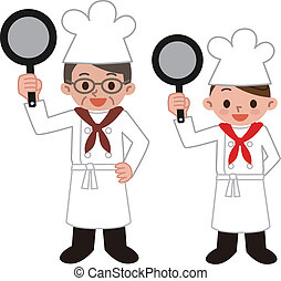 Men and women of cooks  - Vector illustration.