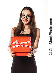 happy and satisfied - happy girl holding an open gift box