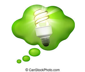 Compact Fluorescent Bulb in a Thought Bubble - A bright idea...