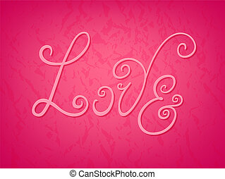 "Colorful ""Love"" hand drawn flourish inscription card"