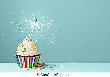Celebration cupcake with sparkler - Cupcake decorated with...