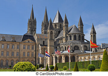 Caen Town Hall - City hall and cathedral in Caen in France