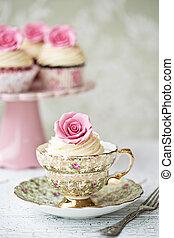 tarde, té, rosa, Cupcakes