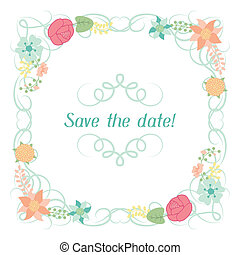 Wedding invitation card with pretty stylized flowers