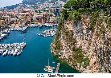 Marina and modern buildings in Monaco - View of marina with...