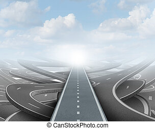 Clear Strategy - Clear strategy concept as a straight road...