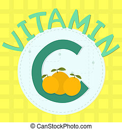 Colorful design of vitamin c with orange and vitamin c...