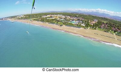 Aerial view of tropical resort from