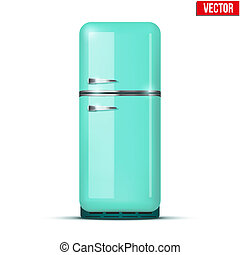 Retro Fridge refrigerator Vector isolated on white...