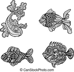 Set of decorative artistic black and white fish drawings