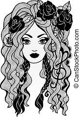 Black and white girl vector illustration