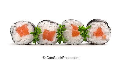 salmon sushi rolls - four salmon sushi rolls on white...