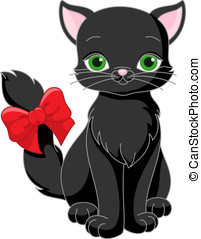black cat - cute black cat with a red bow