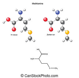 Methionine Met - Methionine Met - chemical structural...