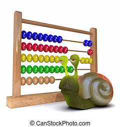 3d Snail using an abacus - 3d render of a snail next to an...