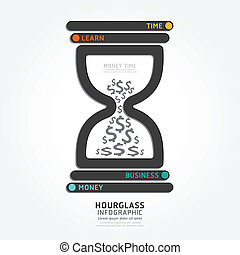 infographics vector hourglass design diagram line style...