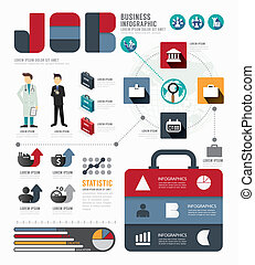 Infographic Businessworld job template design . concept...