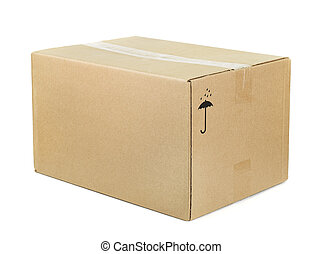 Cardboard box  - Closed cardboard box isolated on white