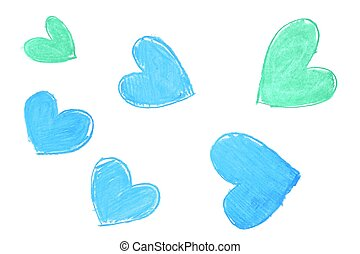 Colorful hand painted heart shapes draw
