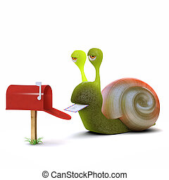 3d Snail gets mail - 3d render of a snail getting mail from...