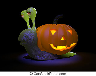 3d Snail goes all Halloween - 3d render of a snail with a...