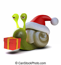 3d Snail dressed as Santa carrying a Christmas gift - 3d...