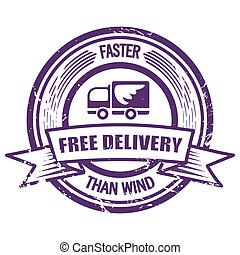 Grunge Faster Than The Wind delivery stamp - Round grunge...