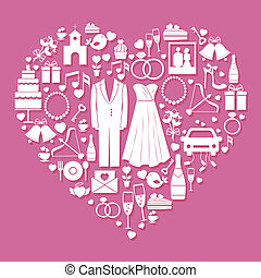 Wedding elements in the shape of a heart - White vector...