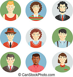 Boys and men faces icons in flat style showing different...