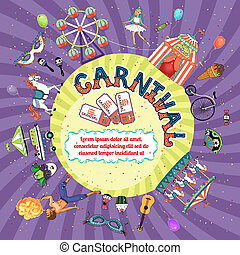 Vector carnival invitation design depicting a Big Top fire...