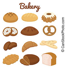 Set of colorful bakery icons depicting pretzels muffins...