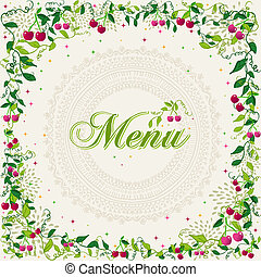 Vintage cherry plant menu background - Beautiful retro...