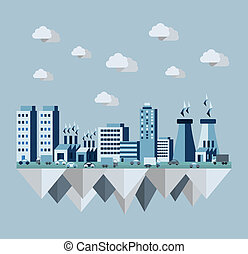 Pollution city concept illustration in flat style design