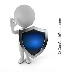 3d cute people - cyber protection
