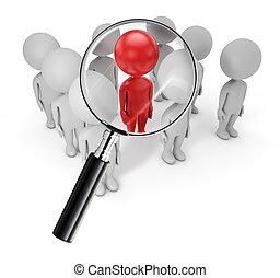 3d cute people - employee search