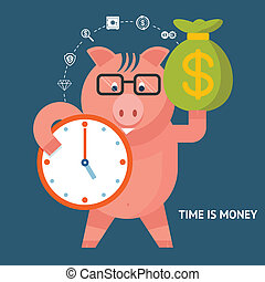 Time Is Money - banking pig - Time Is Money concept with a...