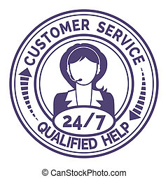 Round icon for non stop customer service on white - Round...