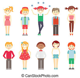 Small children in colorful clothes - Set if vector icons of...