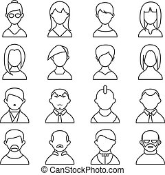 Set of people outline icons - Set of vector black and white...