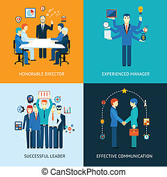 Business team leader banners with a management meeting -...